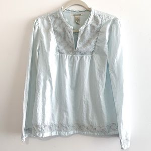 Lucky Brand Light Blue Embroidered Long Sleeve Top